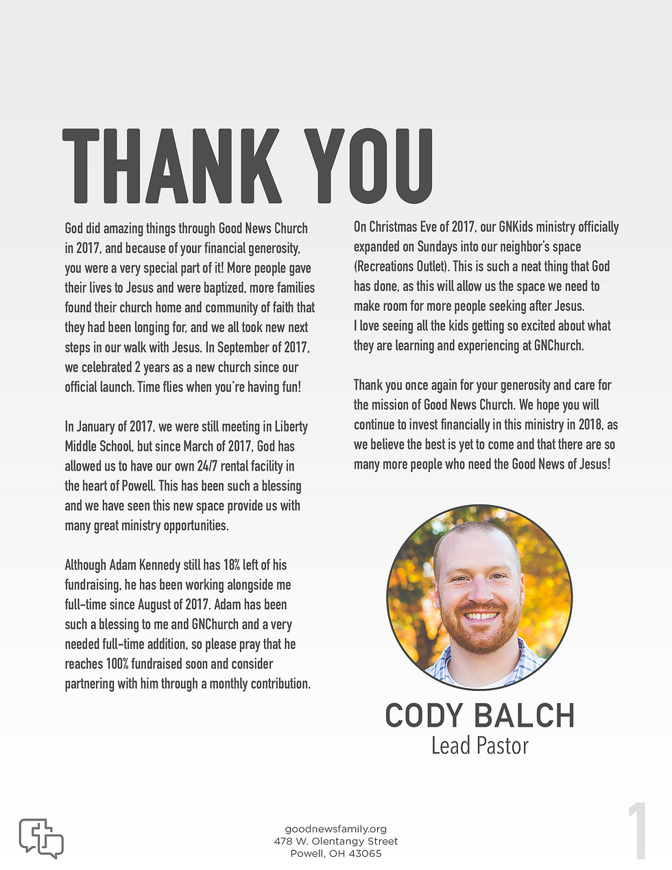 2017 annual report, good news church, powell, ohio, thank you, page 1