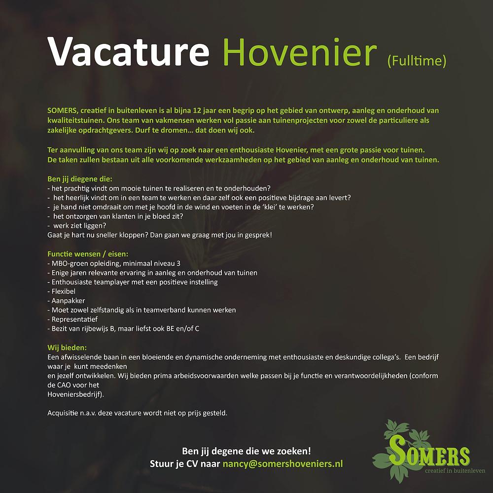 Vacature Hovenier (fulltime)