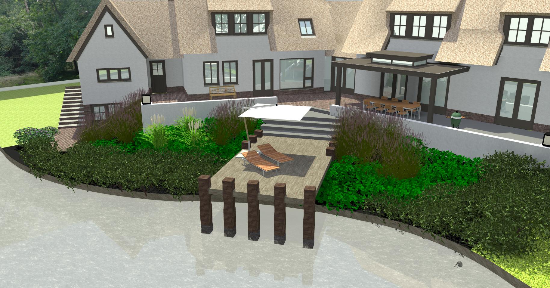 Achtertuin met zwemvijver, verhoogd terras en vlonder (1)