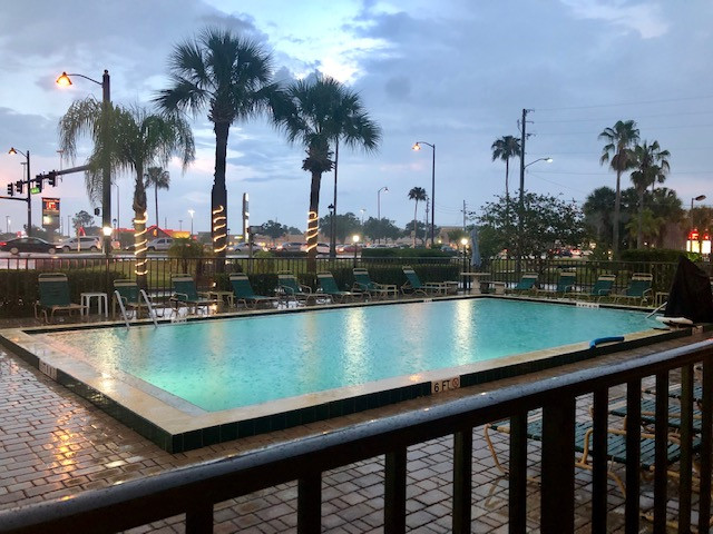 Golden Link Hotel pool on rainy day - April 2019