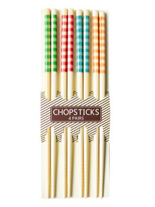 체크무늬 대나무 젓가락 4P / Chopsticks 4Pairs