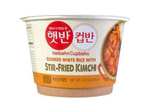 247 g | 컵반 | 볶은 김치 덮밥 | Cupbahn Cooked White Rice With Stir Fried Kimchi