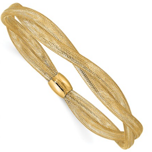 14K Gold Twisted Woven Mesh Stretch Bracelet