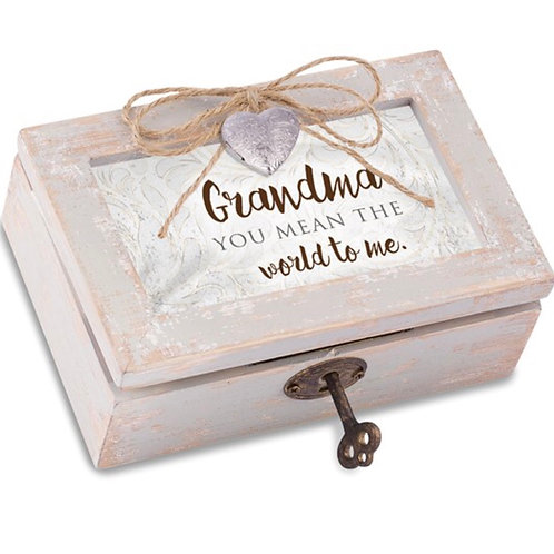 Distressed Finish Grandma Heart Locket Music Box