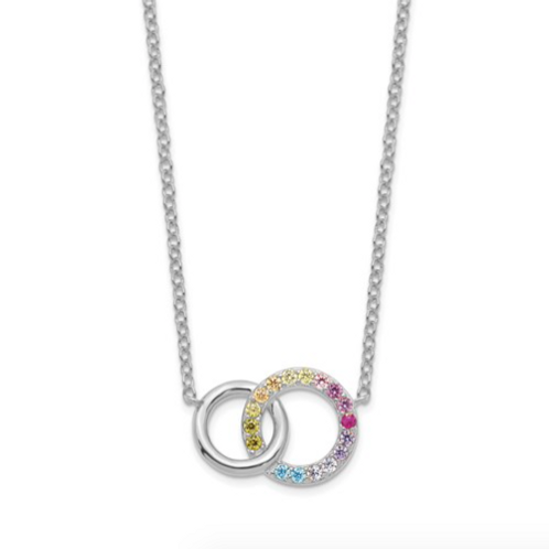 SS Rhodium-Plated Colorful CZ Intertwined Circle With 2in Ext. Necklace