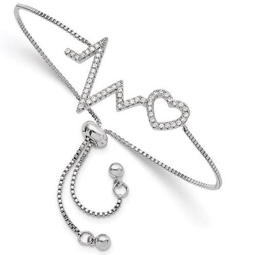 Sterling Silver Polished Rhodium Micro Pavé CZ Heartbeat Adj. Bracelet