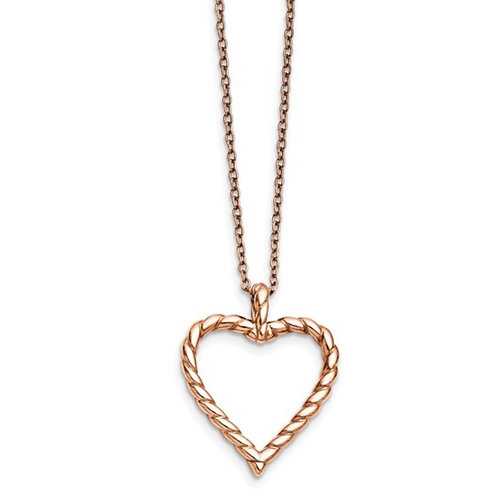 Stainless Steel Polished Pink IP-plated Twisted Heart Necklace