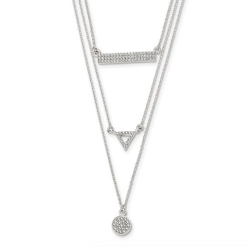 Sterling Silver CZ Circle Triangle And Bar 3-Strand Necklace
