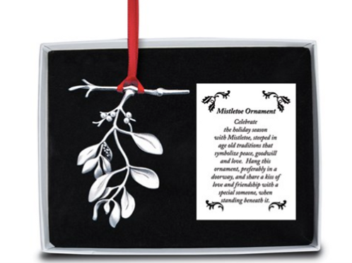 Mistletoe Ornament With Faux Pearls And Ribbon Gift Boxed With Card