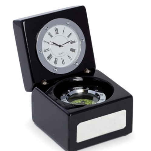 Compass And Clock In Lacquered Black Finish Hinged Box