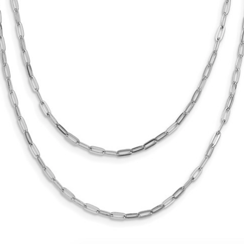 Leslie's Sterling Silver Rhodium-Plated Multi-Strand With 2in Necklace