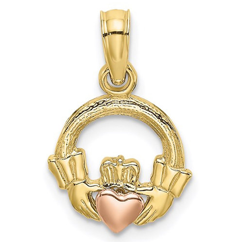 10k Two-Tone Claddagh with Heart Charm