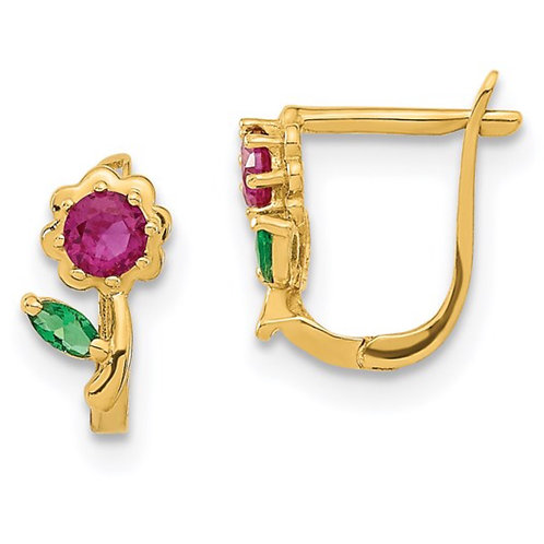 14k Madi K Polished Red and Green CZ Flower Hoops