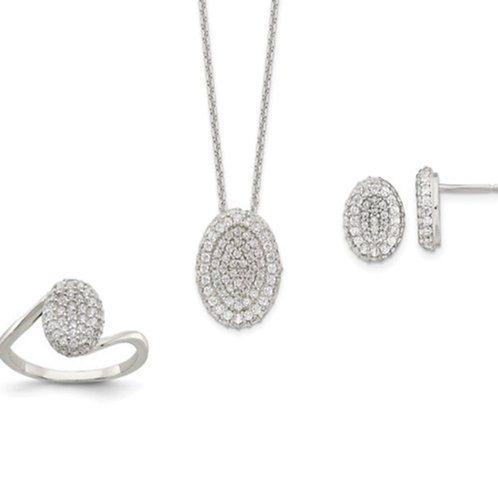 Sterling Silver 16 in with 1.5 in Ext. CZ Oval Necklace, Earrings, Ring Set