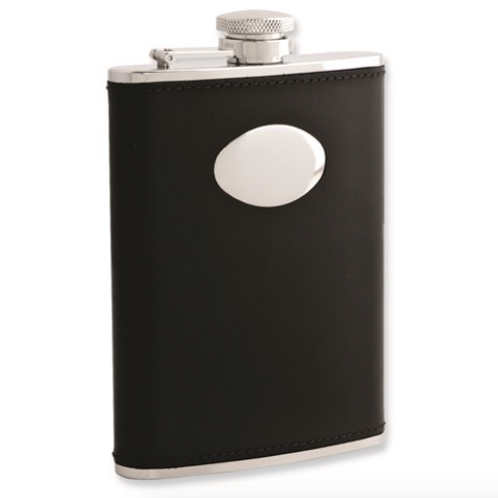 Black Leather 6oz Stainless Steel Flask With Funnel