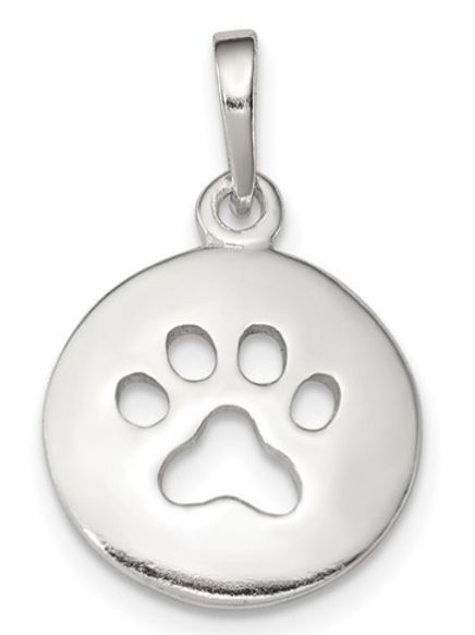 Sterling Silver Polished Paw Print Pendant