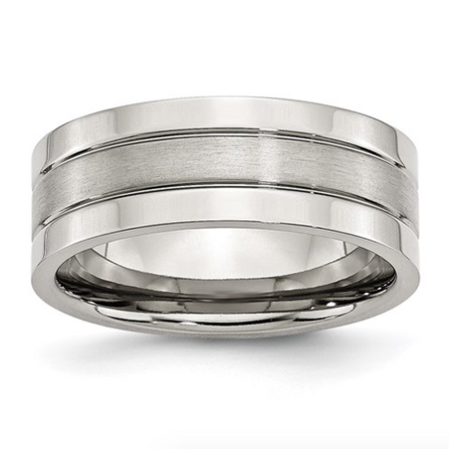 Stainless Steel Grooved 8mm Satin And Polished Band