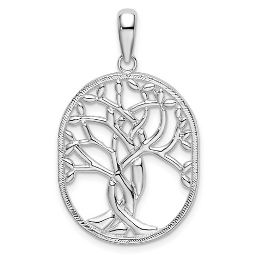 Sterling Silver Polished Knotted Tree of Life Oval Pendant