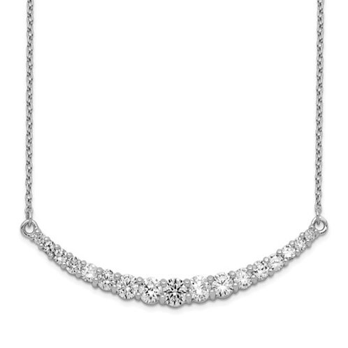 Sterling Silver Rhodium-plated CZ with 2in ext. Bar Necklace