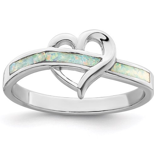 Sterling Silver Rhodium-plated White Created Opal Inlay Heart Ring
