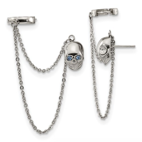 Stainless Steel Polished Double Earrings With Hoop Chain Dangle And Blue CZ Post
