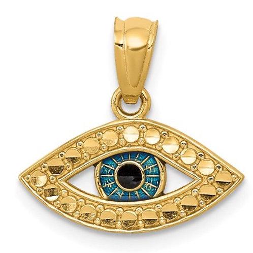 14K Enameled Eye Pendant
