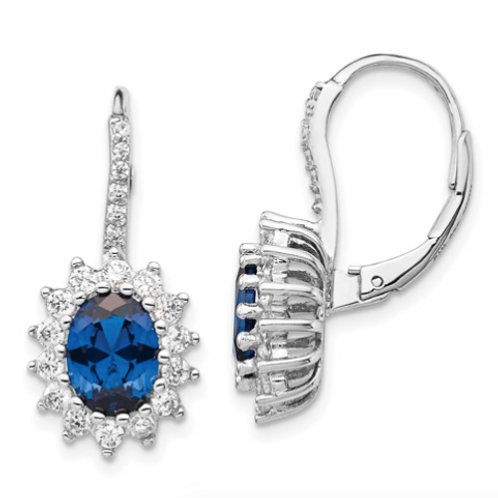 Cheryl M SS Rhodium Plated Created Blue Spinel And CZ Leverback Earrings