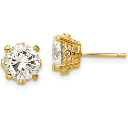 Cheryl M SS Gold-plated Fancy CZ Stud Post Earrings