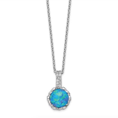 Cheryl M SS Rhodium Plated CZ And Created Blue Opal 18.25in Necklace
