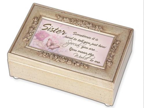 Woodgrain Champ. Silver Petite Rose Sister Music Box