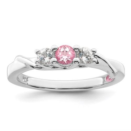 Sterling Silver Survivor Collection Clear/Pink Swarovski Topaz Joanna Ring