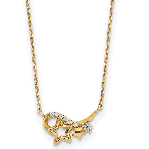 14k Yellow Gold Polished CZ Star 15in with 1in ext Necklace