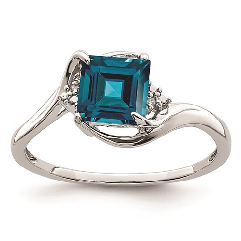Sterling Silver Rhodium Plated Diamond and London Blue Topaz Ring