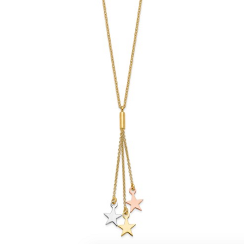14K Tri-Color Polished Stars With 2 In Ext Necklace