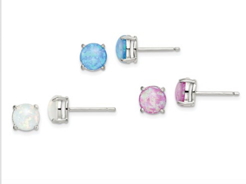 Sterling Silver Pink/White/Blue Created Opal 3 Set Of Earrings