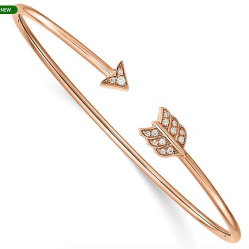 14k Rose Gold Diamond Arrow Cuff Bangle