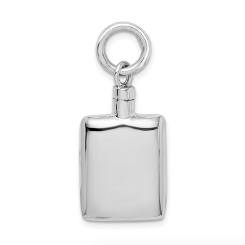 Sterling Silver Rhodium-Plated Polished Rectangular Ash Holder Pendant