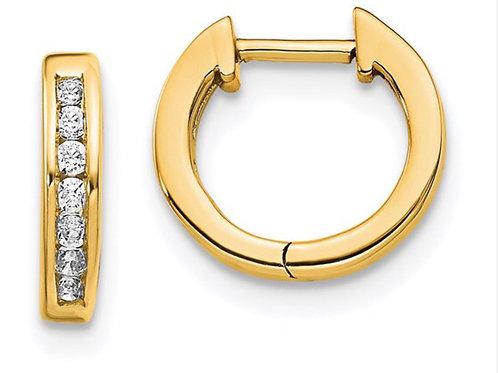 14k Gold Polished Diamond Hinged Hoop Earrings