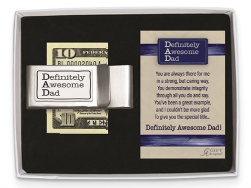 Definitely Awesome Dad Double Money Clip Gift Boxed With Card