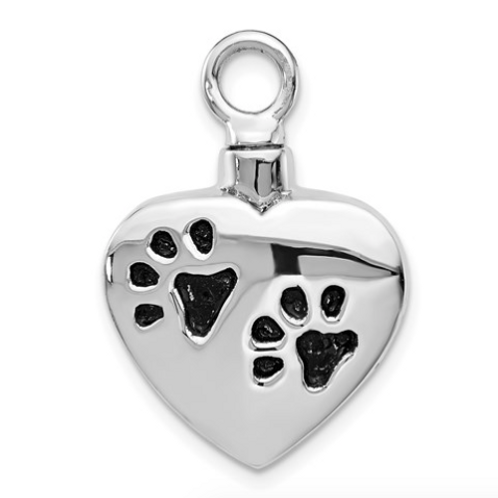 Sterling Silver Rhodium-Plated Enameled Paw Prints Heart Ash Holder