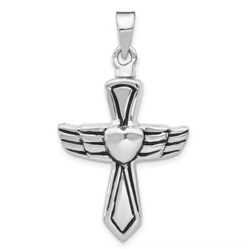 Sterling Silver Rhodium-Plated Antiqued Cross With Heart Ash HolderPenda