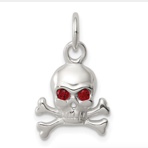 Sterling Silver Red CZ Skull Charm