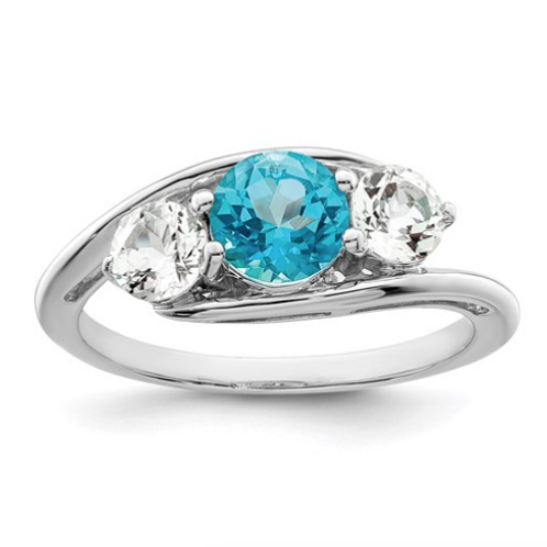 Sterling Silver Survivor Collection Clear And Blue Swarovski Topaz Sue Ring