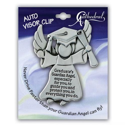 Silver-Tone Graduation Angel Visor Clip