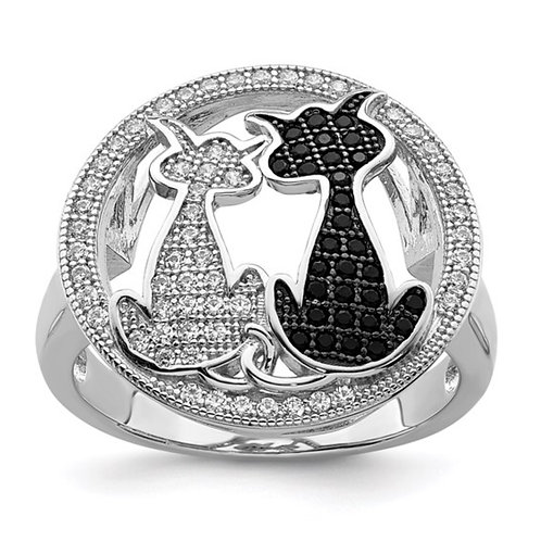Brilliant Embers Sterling Silver Rhodium-plated Micro Pavé CZ Polished Cat Ring