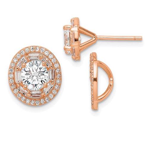 Sterling Silver Polished Rose-tone CZ 6mm Stud Earrings with Jackets