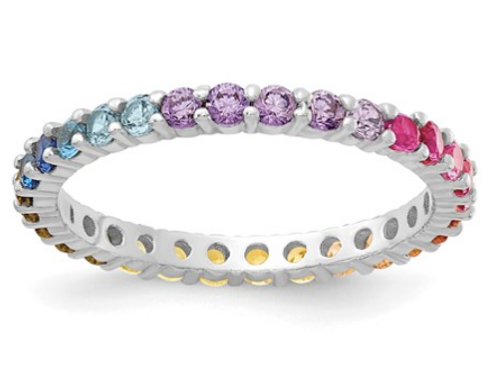 Sterling Silver Rhodium-Plated Colorful CZ Eternity Band Ring