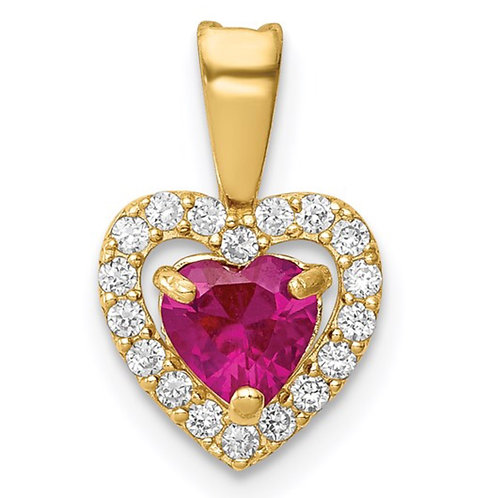 14K Polished Red and Clear CZ Heart Pendant