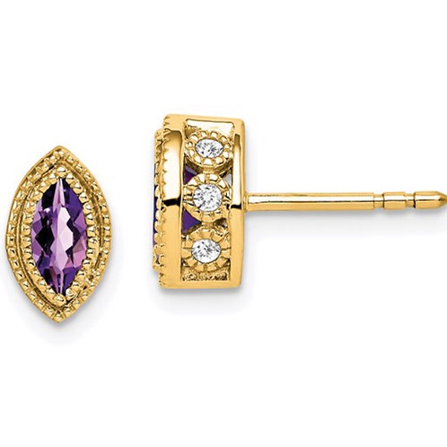 14k Marquise Amethyst and Diamond Earrings