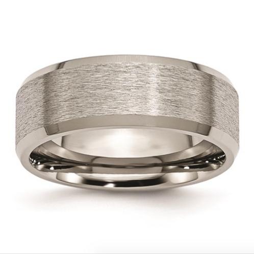 Titanium Beveled Edge 8mm Satin And Brushed Band